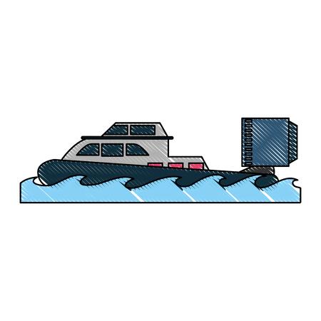 Coastguard fan boat icon vector illustration graphic design