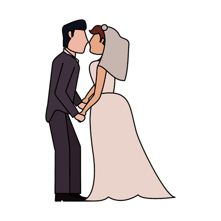 Bride and fiance cartoon icon vector illustration graphic design Illustration