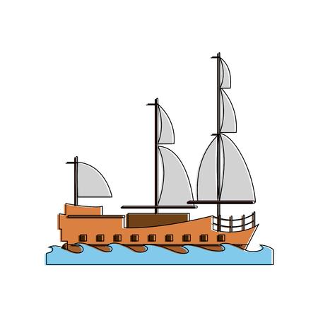 Old ship boat icon vector illustration graphic design Illustration