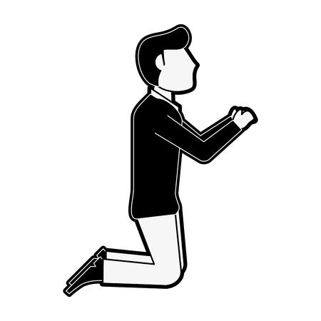 Fiance on knees wedding proposal icon vector illustration graphic design Vettoriali