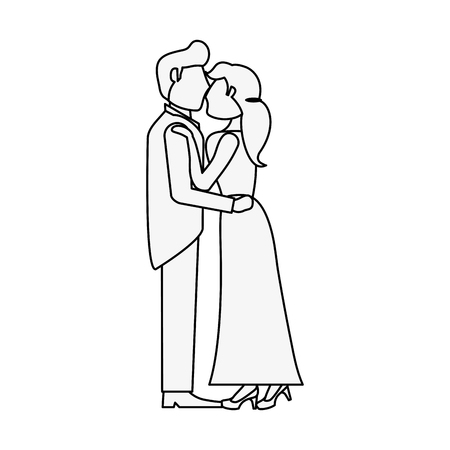 Bride and fiance cartoon icon vector illustration graphic design Illustration