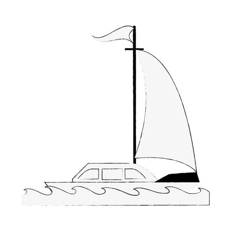 Luxury sailboat isolated icon vector illustration graphic design