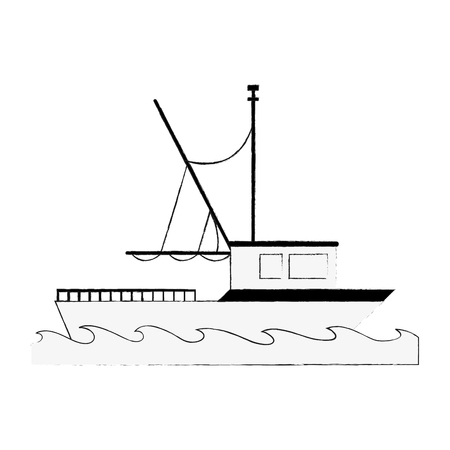 Fishing ship isolated icon vector illustration graphic design