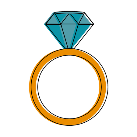 Luxury ring with diamond icon vector illustration graphic design Illustration