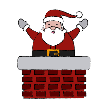 Santa in chimney icon vector illustration graphic design Illustration