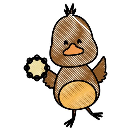 Cute bird with tambourine music instrument icon vector illustration graphic design