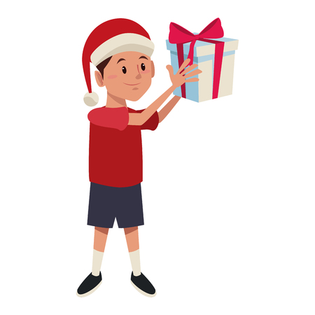 Boy with christmas giftbox icon vector illustration graphic design Illustration