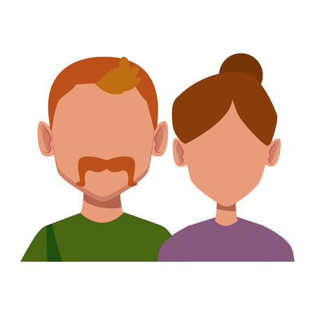 Couple faceless avatar icon vector illustration graphic design
