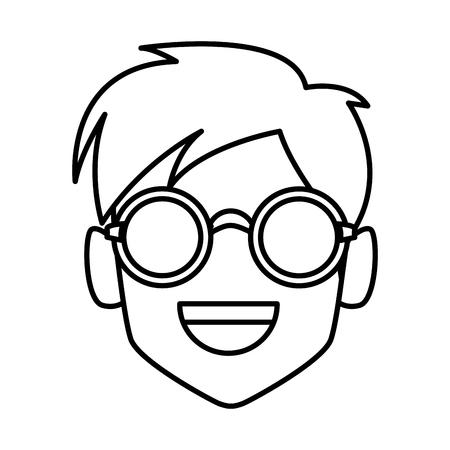Geek man with round frame glasses icon vector illustration graphic design Иллюстрация