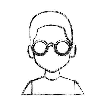 Geek man with round frame glasses icon vector illustration graphic design Illusztráció