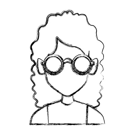 Geek girl with round frame glasses icon vector illustration graphic design