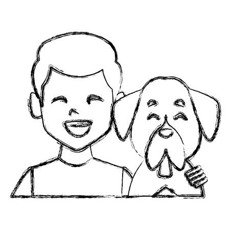 Man with dog cartoon icon vector illustration graphic design