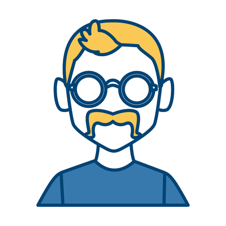 Geek man with round frame glasses icon vector illustration graphic design Illustration