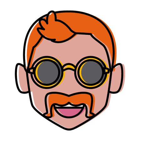 Geek man with round frame glasses icon. Illustration