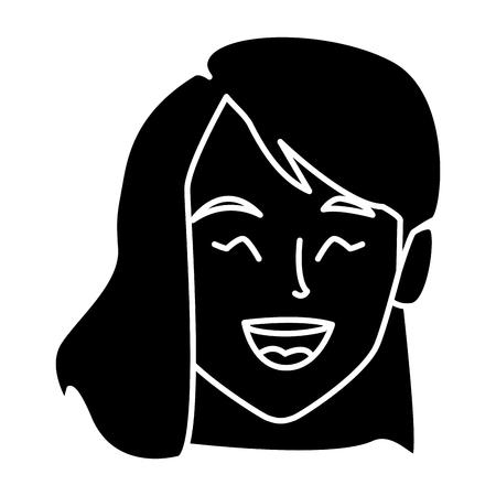 progettazione grafica sorridente dell'illustrazione di vettore dell'icona del fronte della bella donna