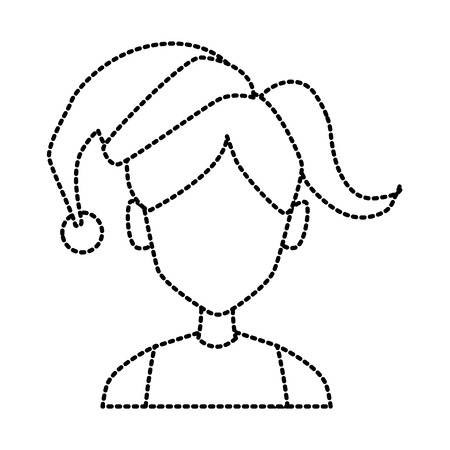 Young woman with christmas hat icon vector illustration graphic design