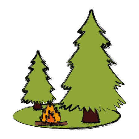 Trees pines and bonfire icon.