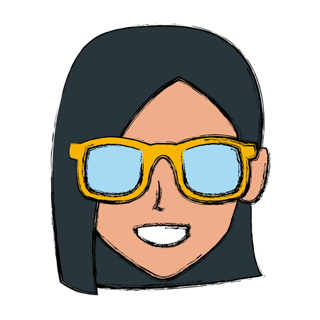 Woman with sunglasses profile icon vector illustration graphic design Illustration
