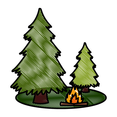 Trees pines and bonfire icon vector illustration graphic design