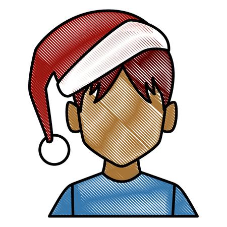 Man with christmas hat icon vector illustration graphic design Illustration