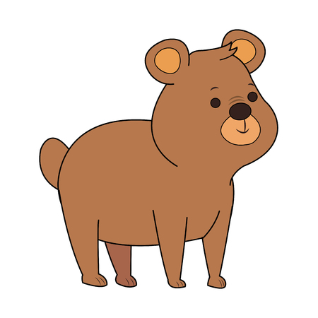 Cute bear cartoon icon vector illustration