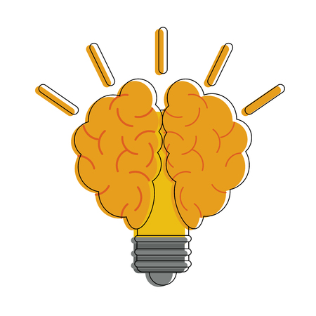 Bulb with brain icon vector illustration, graphic design. Illustration