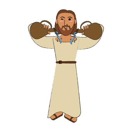 Jesus Christ wine miracle cartoon icon vector illustration graphic design