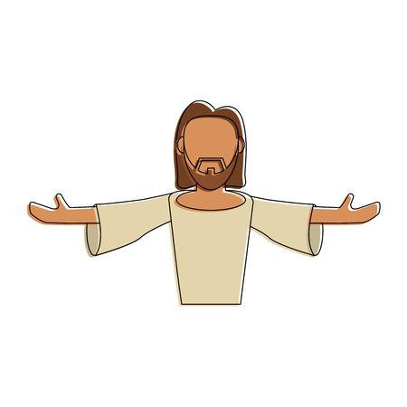 Jesus face cartoon icon vector illustration graphic design