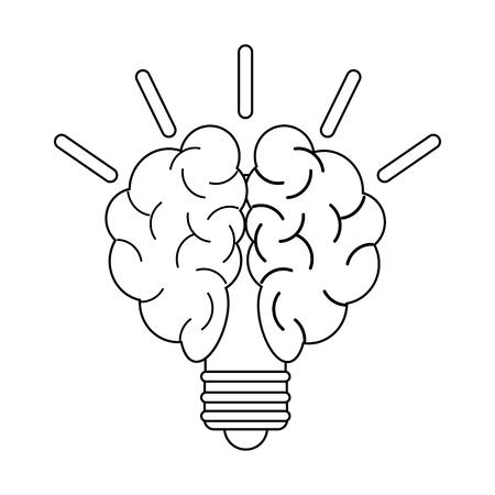 Bulb with brain icon vector illustration graphic design