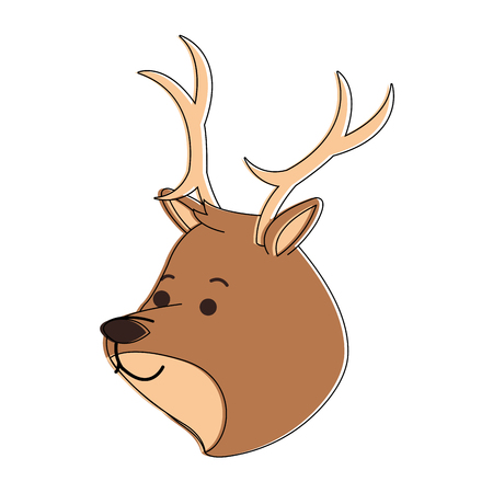 Reindeer cute cartoon icon vector illustration, graphic design.