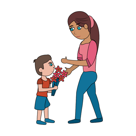 Son giving flowers to his mom icon vector illustration graphic design