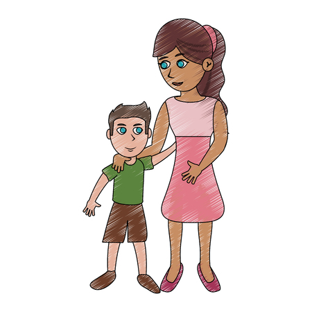 Mom and son cartoon icon vector illustration graphic design
