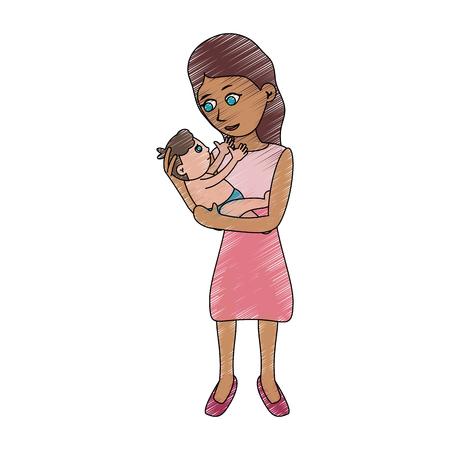 Mom holding baby cartoon icon.