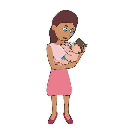 Mom holding baby cartoon icon vector illustration graphic design