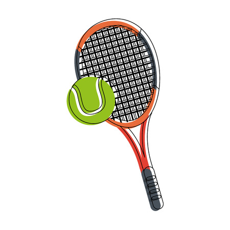 Tennis  racket and ball icon vector illustration graphic design