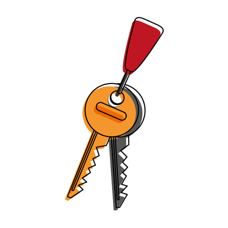 Keys in keychain isolated icon vector illustration graphic design
