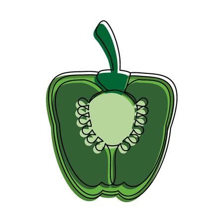 Sliced pepper vegetebles icon Illustration