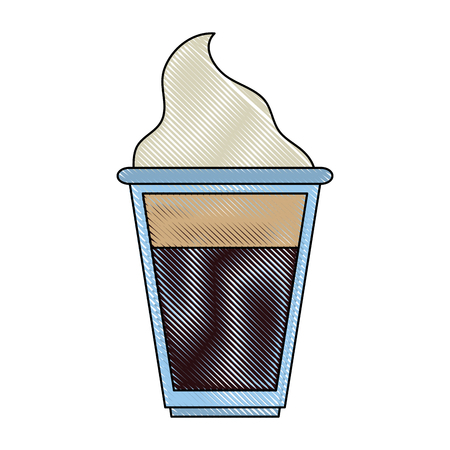 Coffee with chantilly cream icon vector illustration graphic design Ilustração