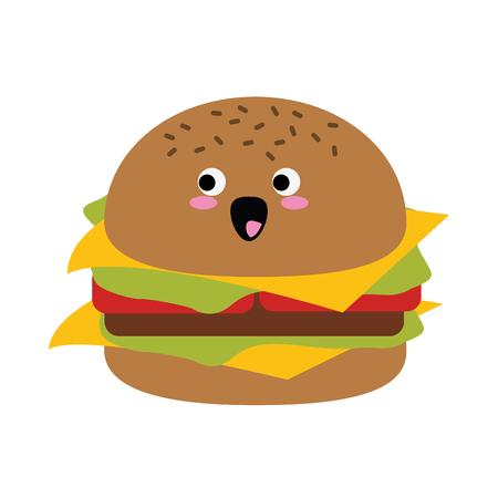 ハンバーガーファーストフードかわいい漫画ベクトルイラスト  イラスト・ベクター素材