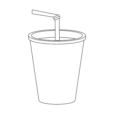 Soda in plastic cup icon vector illustration graphic design