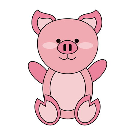 Cute pig cartoon icon vector illustration graphic design Illustration