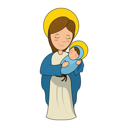 Virgin mary holding baby jesus cartoon icon vector illustration graphic design Illustration