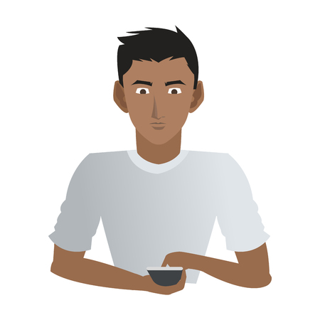 Young man with smartphone icon vector illustration graphic design