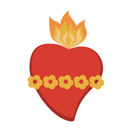 Sacred heart cartoon icon vector illustration graphic design Vettoriali