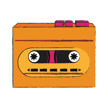 Old cassette recorder pop art colors icon vector illustration