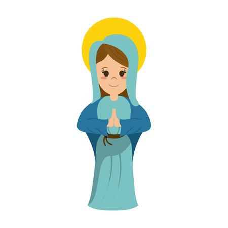 Virgin Mary cartoon icon illustration graphic design.