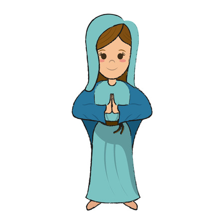Virgin Mary cartoon icon.