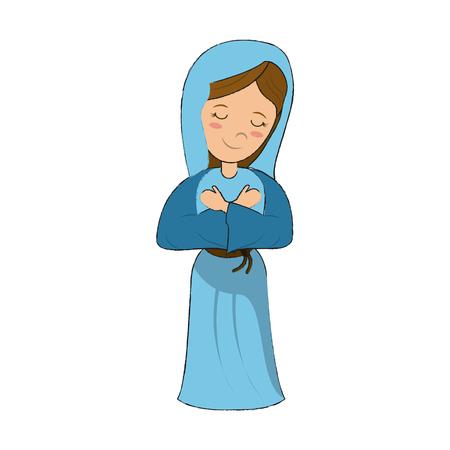Virgin Mary cartoon icon.