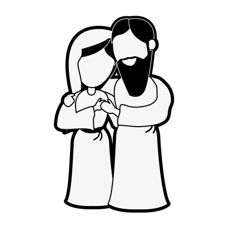 Virgin mary and joseph cartoon icon illustration graphic design.