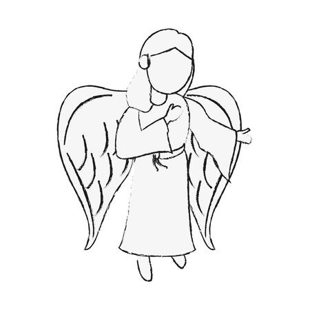 Beautiful angel cartoon icon illustration graphic design.